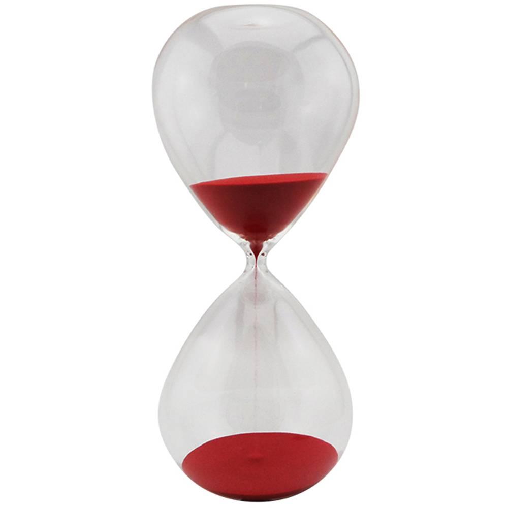 Ampulheta Clear Glass Vermelha 120 minutos em Vidro - 38x18 cm