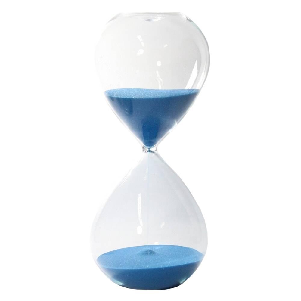 Ampulheta Lisa Azul em Vidro - 24x11 cm
