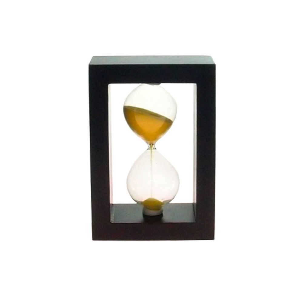 Ampulheta em Madeira com Areia Amarela - 15x10 cm