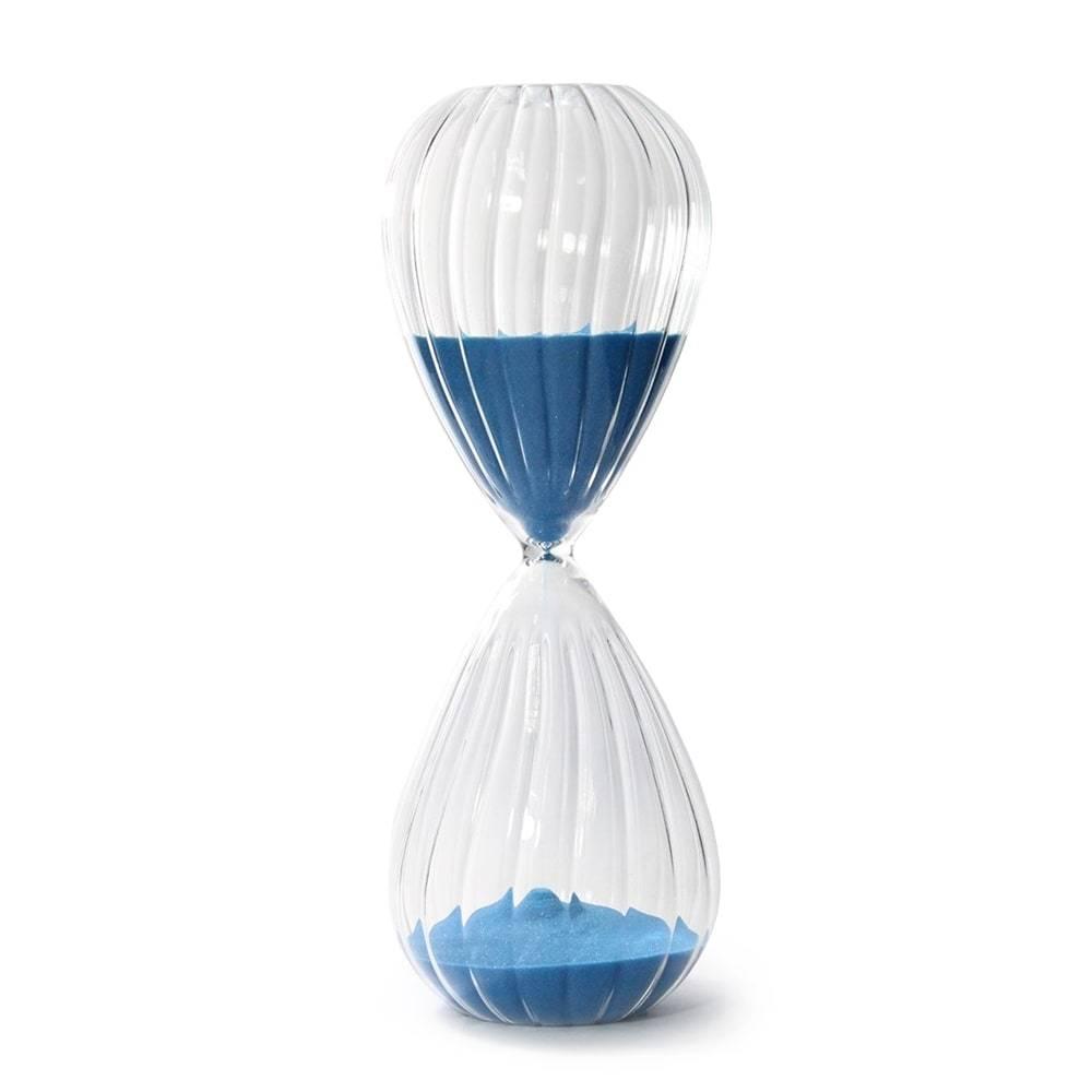 Ampulheta Reticulada Azul em Vidro - 27x10 cm