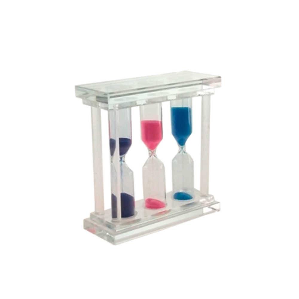 Ampulheta Tripla em Vidro com Areia Colorida - 10x10 cm