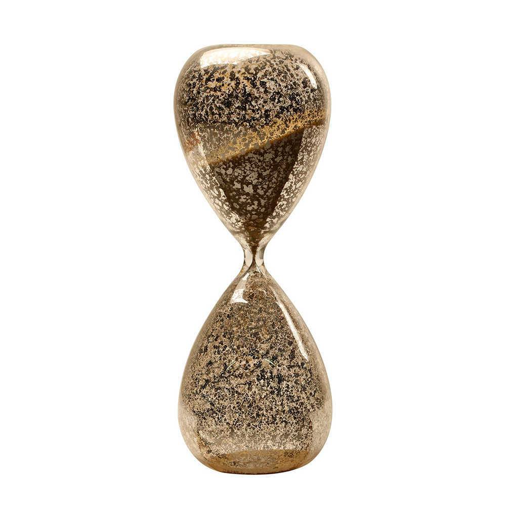 Ampulheta Turin Dourada em Vidro com Areia - 25x9 cm