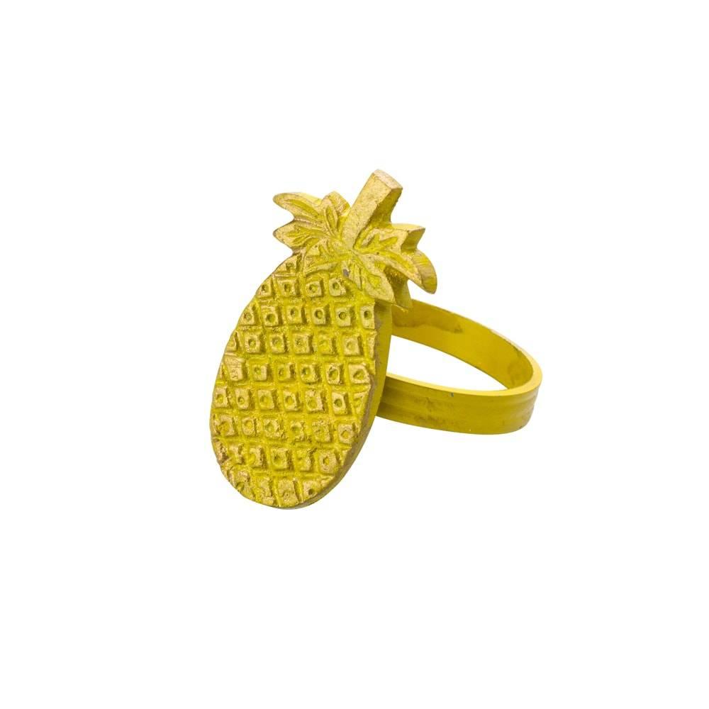 Anéis para Guardanapo Abacaxi Amarelo em Latão - 4 Peças - Lyor Classic