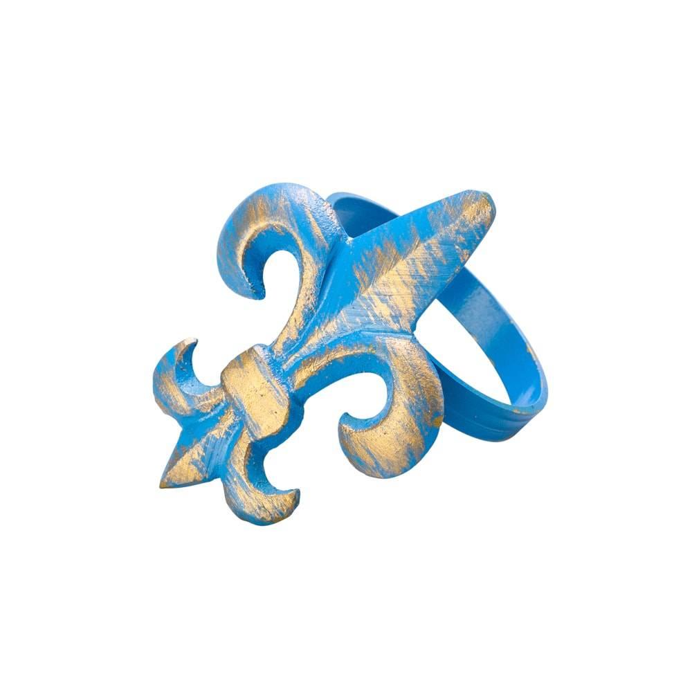 Anéis para Guardanapo Flor de Lis Azul em Latão - 4 Peças - Lyor Classic