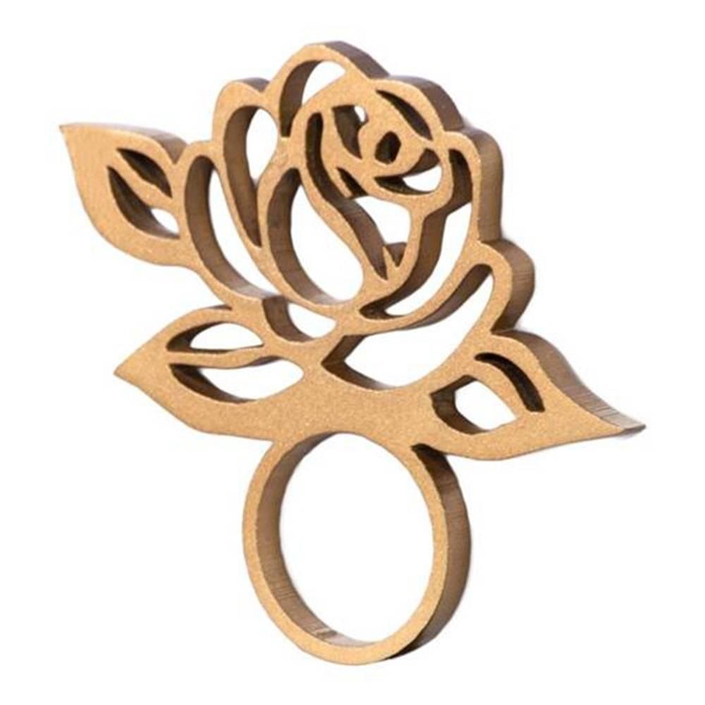 Anel para Guardanapo Flor em MDF Laqueado Dourado - 9,3x7 cm