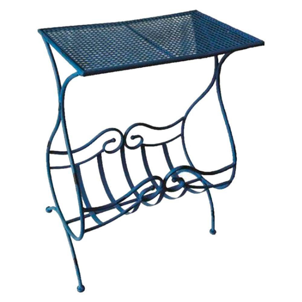 Aparador Azul c/ Revisteiro Design Curvilíneo Vazado em Ferro - 81x48 cm