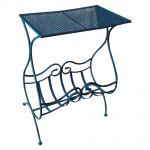 Aparador Azul c/ Revisteiro Design Curvilíneo Vazado