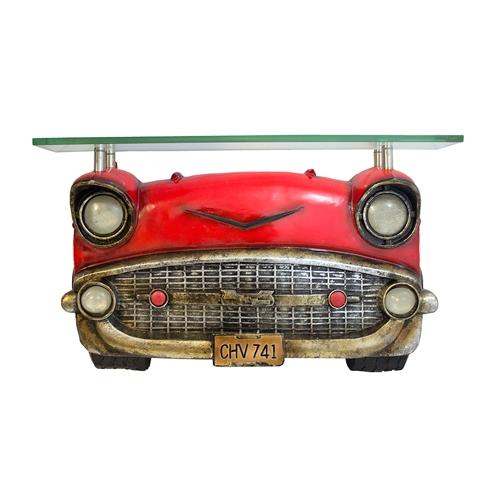 Aparador Carro Vermelho c/ Tampo de Vidro Oldway - 64x37 cm