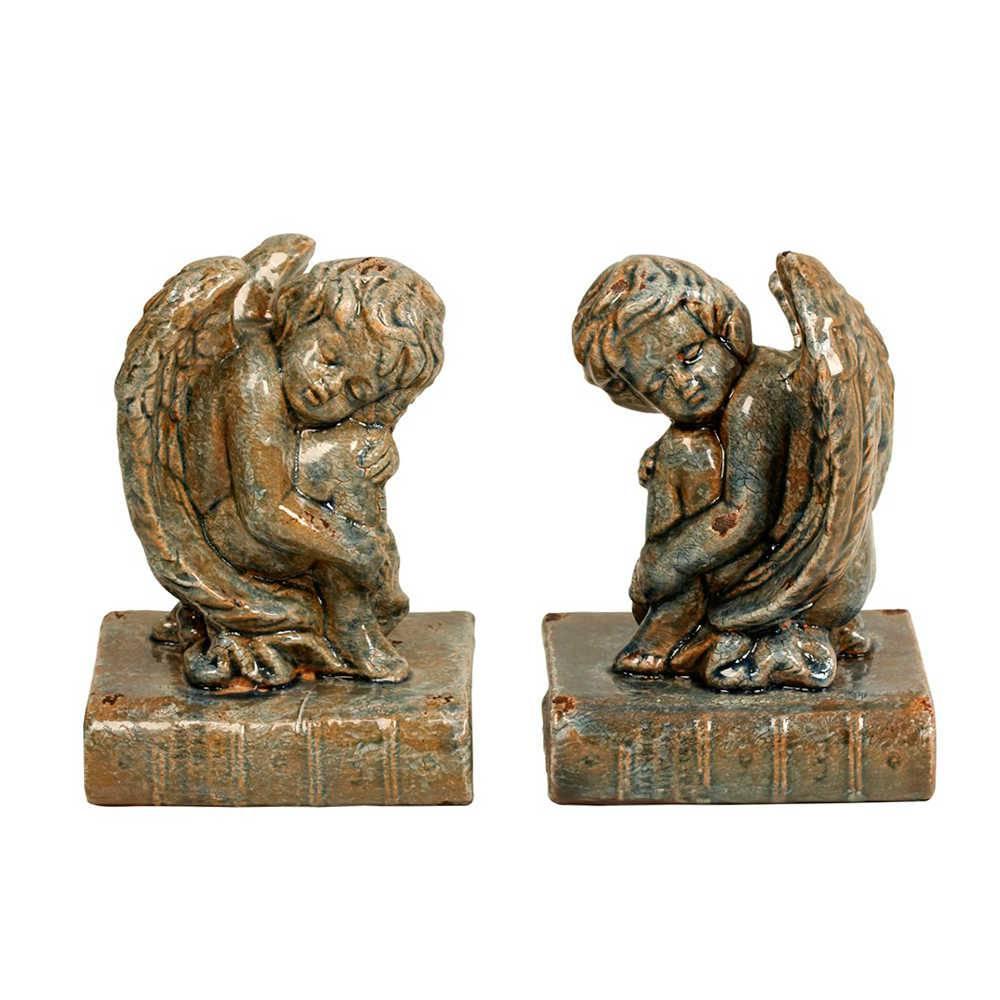 Aparador de Livros Anjos em Porcelana - 23x15 cm