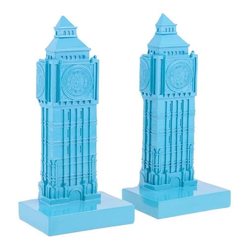 Aparador de Livros Big Ben Pantone Azul em Resina - 25x15 cm