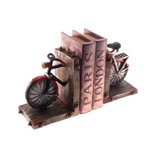 Aparador de Livros Bike Retrô em Resina - 24x14 cm