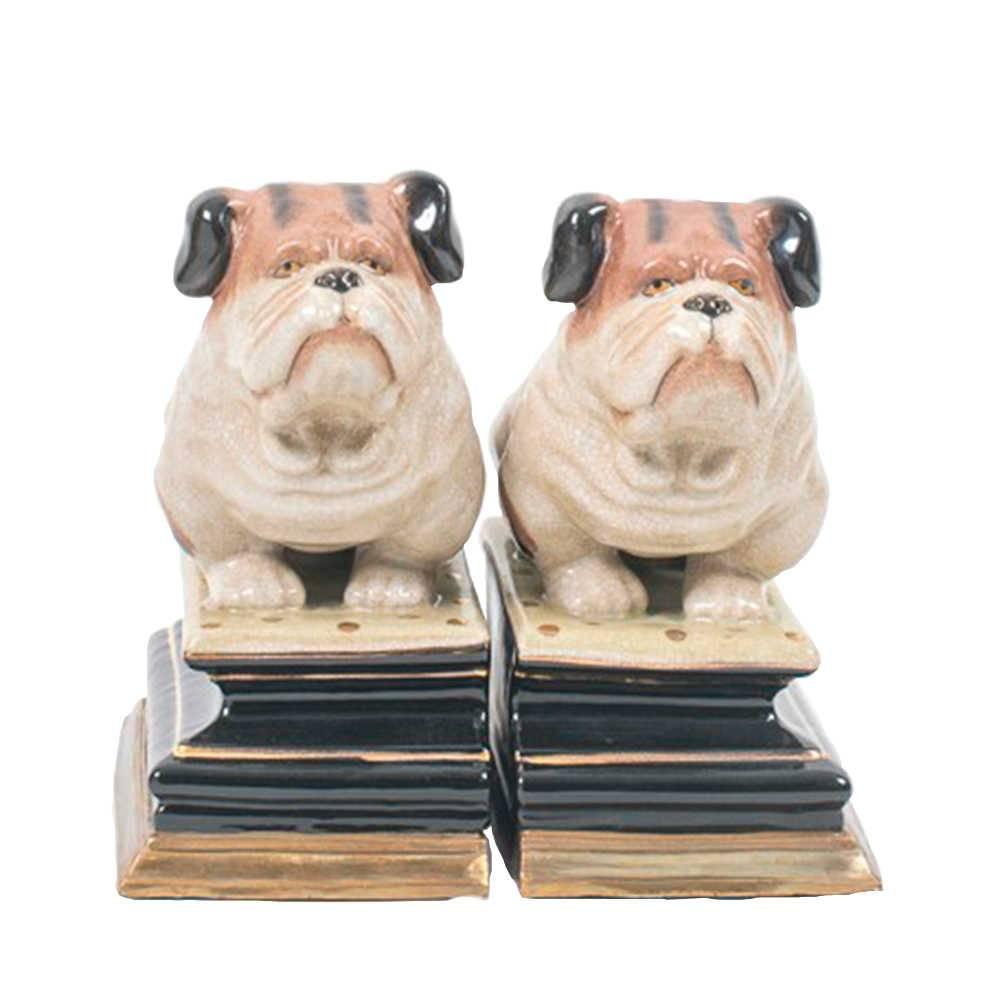 Aparador de Livros Bulldog em Porcelana - 22x19 cm