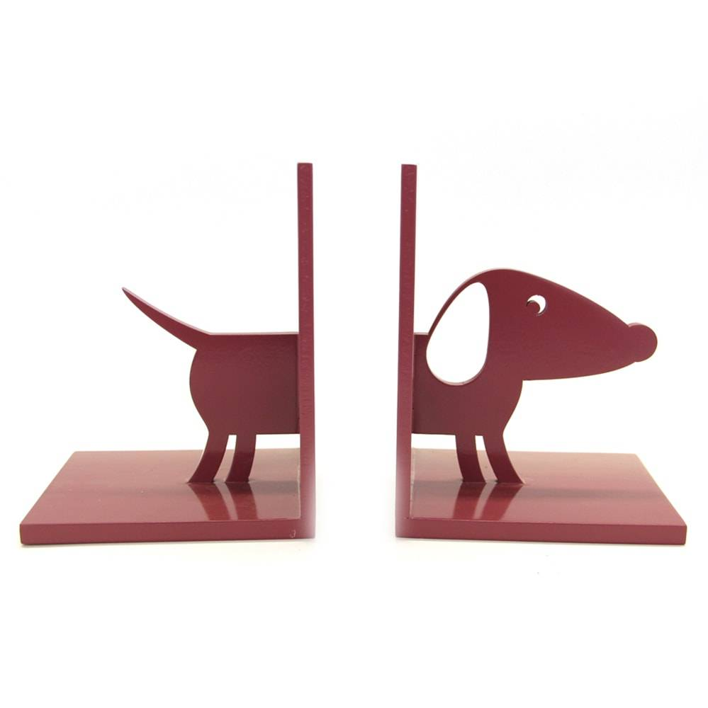 Aparador de Livros Cachorro em MDF Laqueado Marsala - 25x16 cm