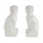 Aparador de Livros Cães Brancos de Lado em Cerâmica