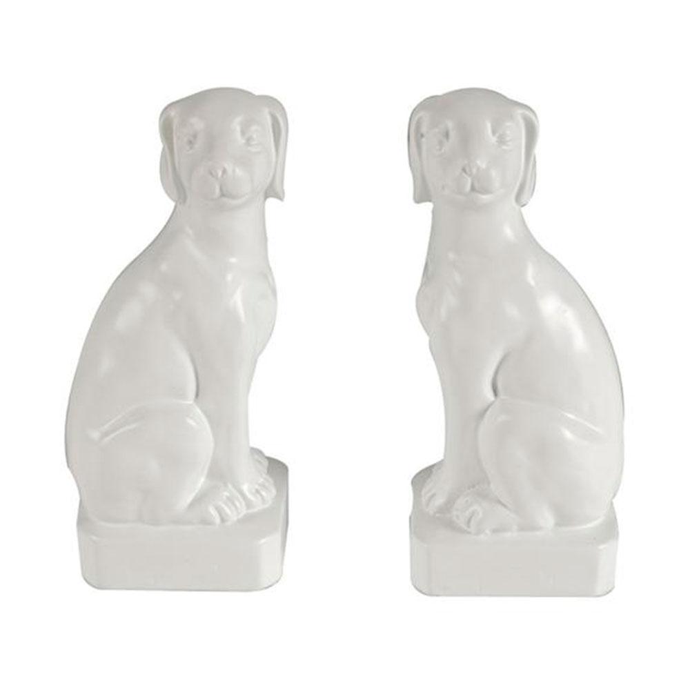 Aparador de Livros Cães Brancos de Lado em Cerâmica - 22,3x9 cm