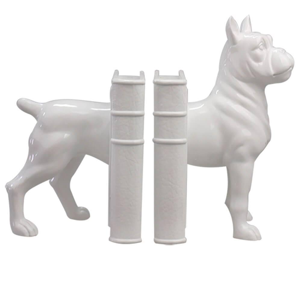 Aparador de Livros Cão Boxer Branco em Resina - Urban - 30,5x24,5 cm
