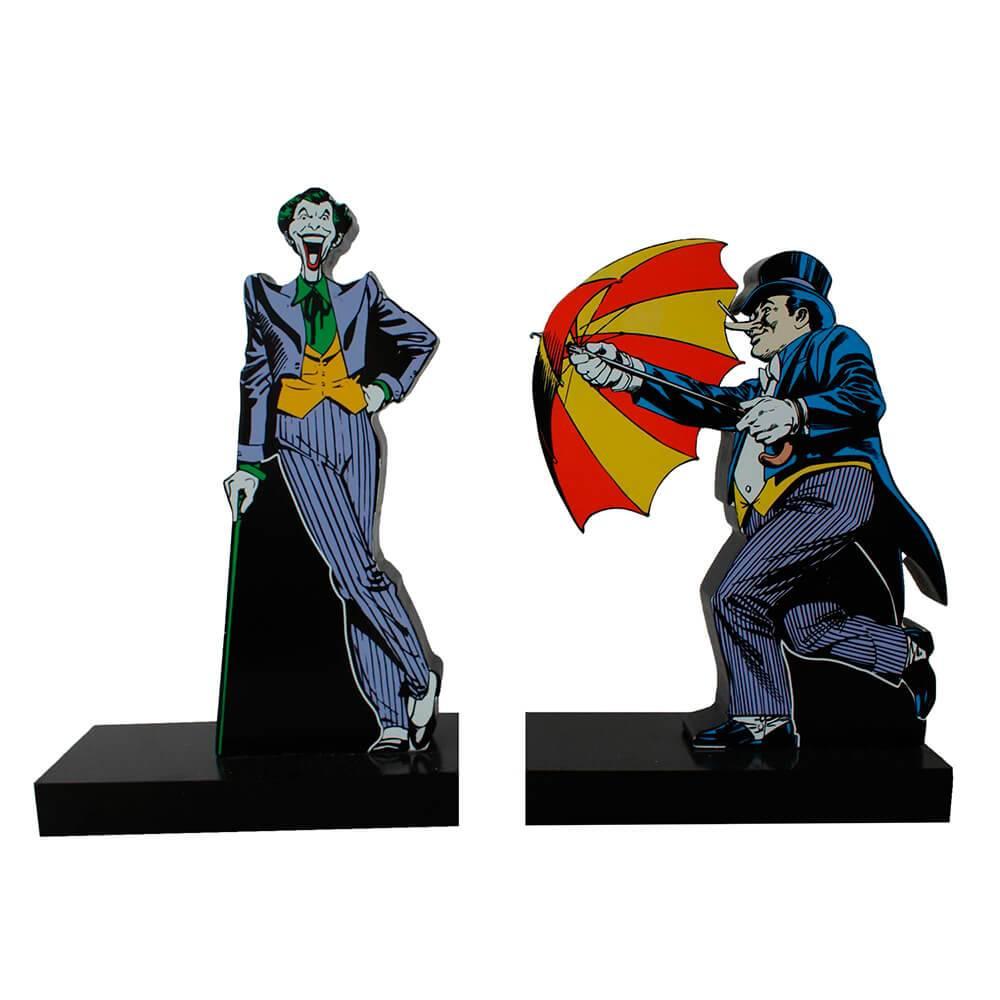 Aparador de Livros DC Comics Coringa e Pinguim em Madeira - Urban - 28x26,5 cm