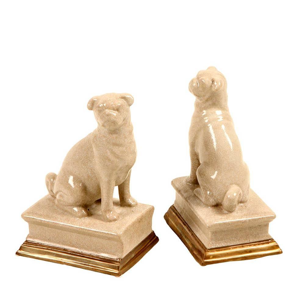 Aparador de Livros Dog em Porcelana - 20x13 cm