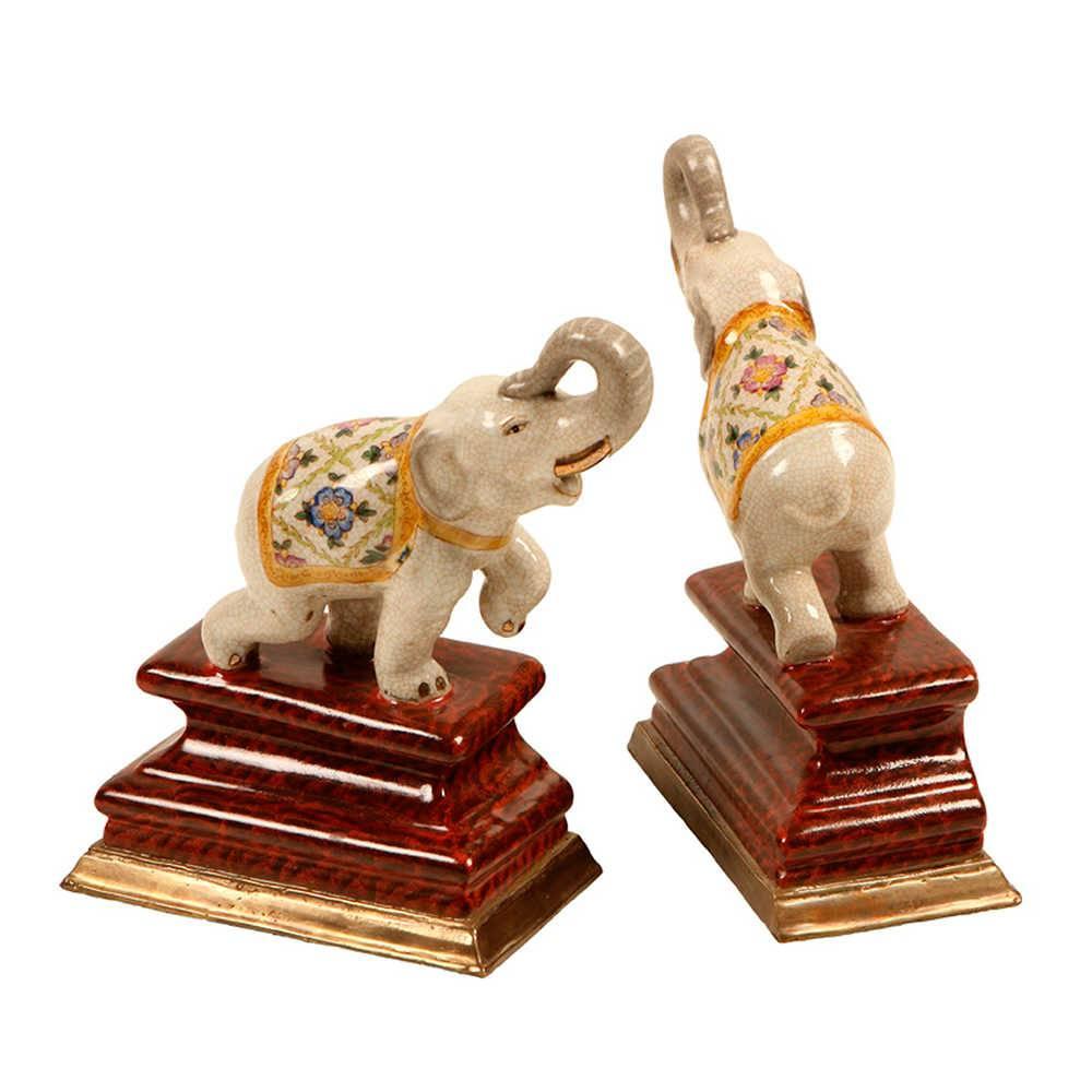 Aparador de Livros Elefantes Indianos em Porcelana - 21x16 cm