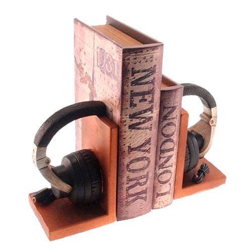 Aparador de Livros Fone de Ouvido Preto em Resina - 19x16 cm
