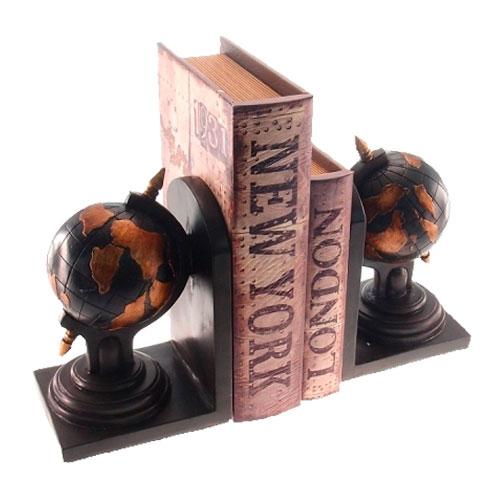 Aparador de Livros Globo Retrô Preto e Marrom em Resina - 25x17 cm