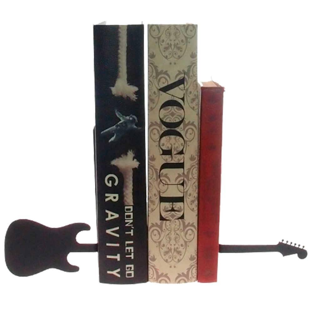 Aparador Livros Guitarra Preta em Ferro - 31x16 cm