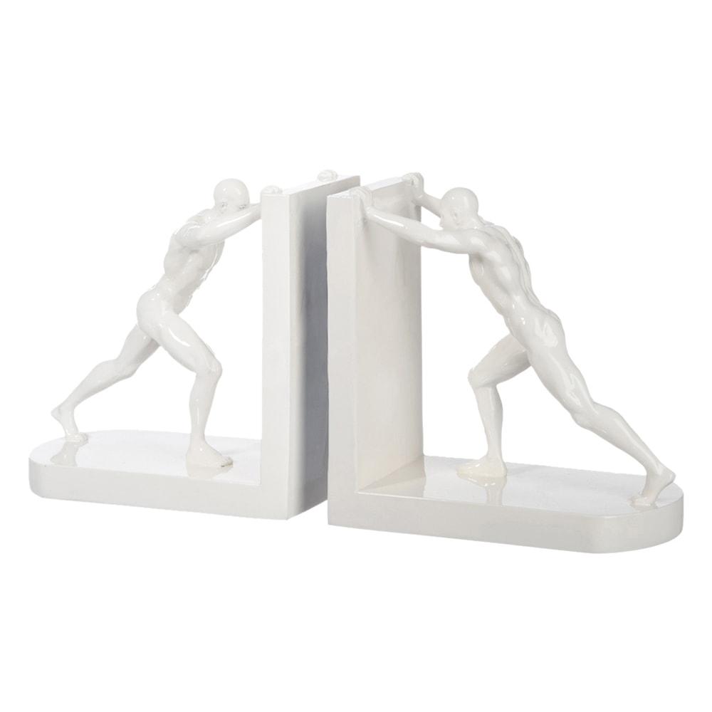 Aparador de Livros Homem Branco em Resina - 18x10 cm
