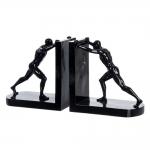 Aparador de Livros Homem Preto em Resina - 18x18 cm