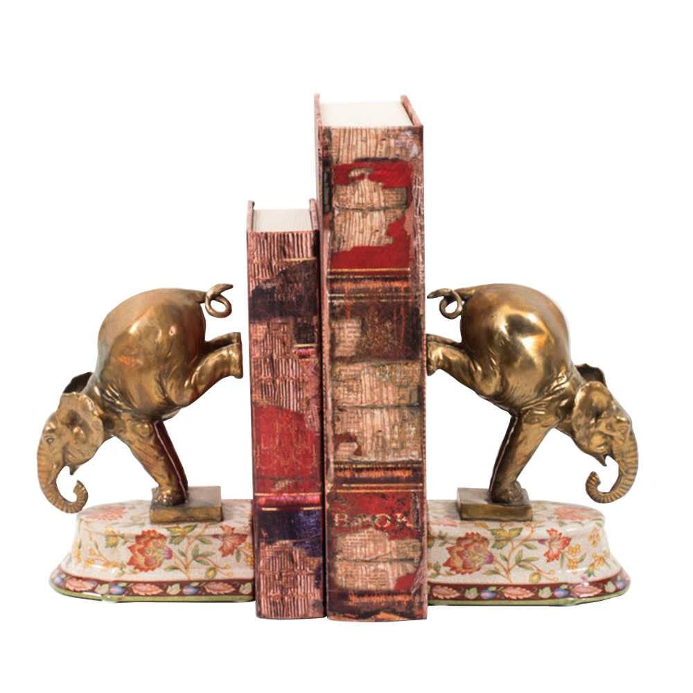 Aparador de Livros Le Jardin Elefantes Dourados em Porcelana - 23x15 cm
