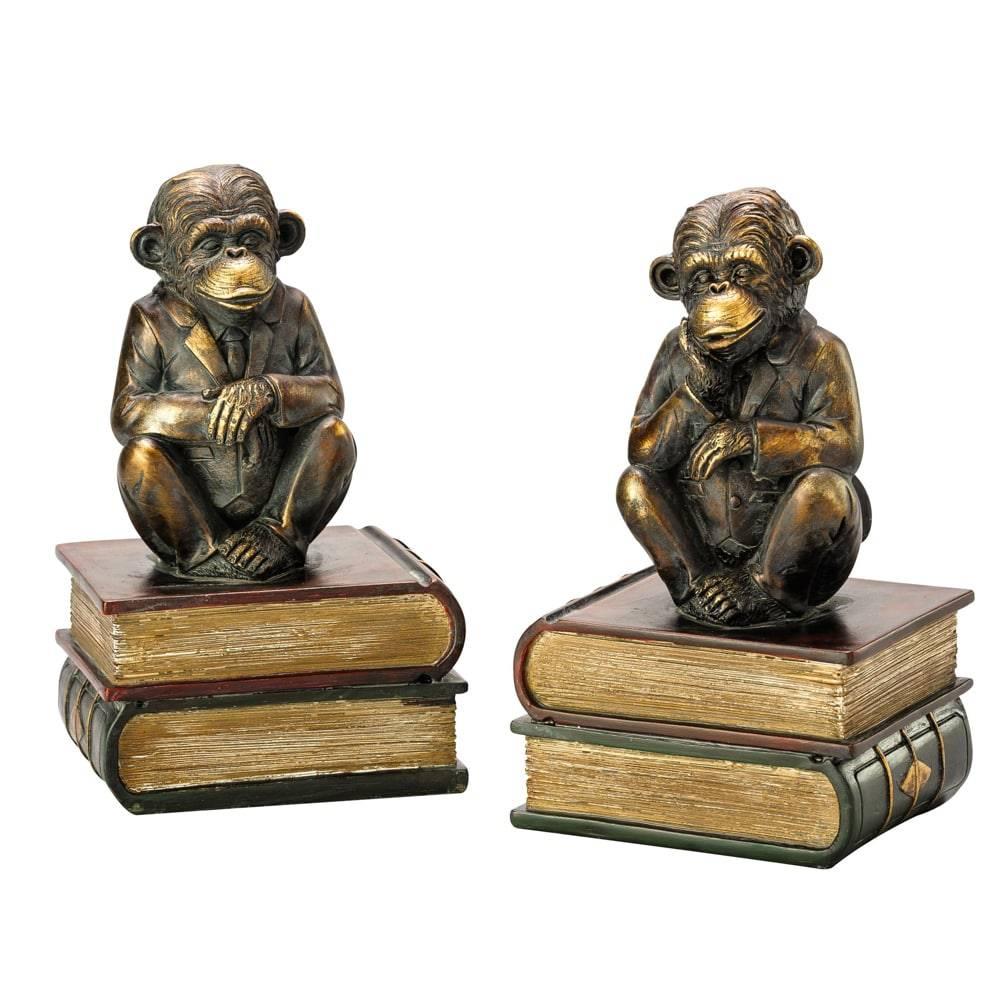 Aparador de Livros Macacos em Poliresina - Lyor Classic - 29 cm