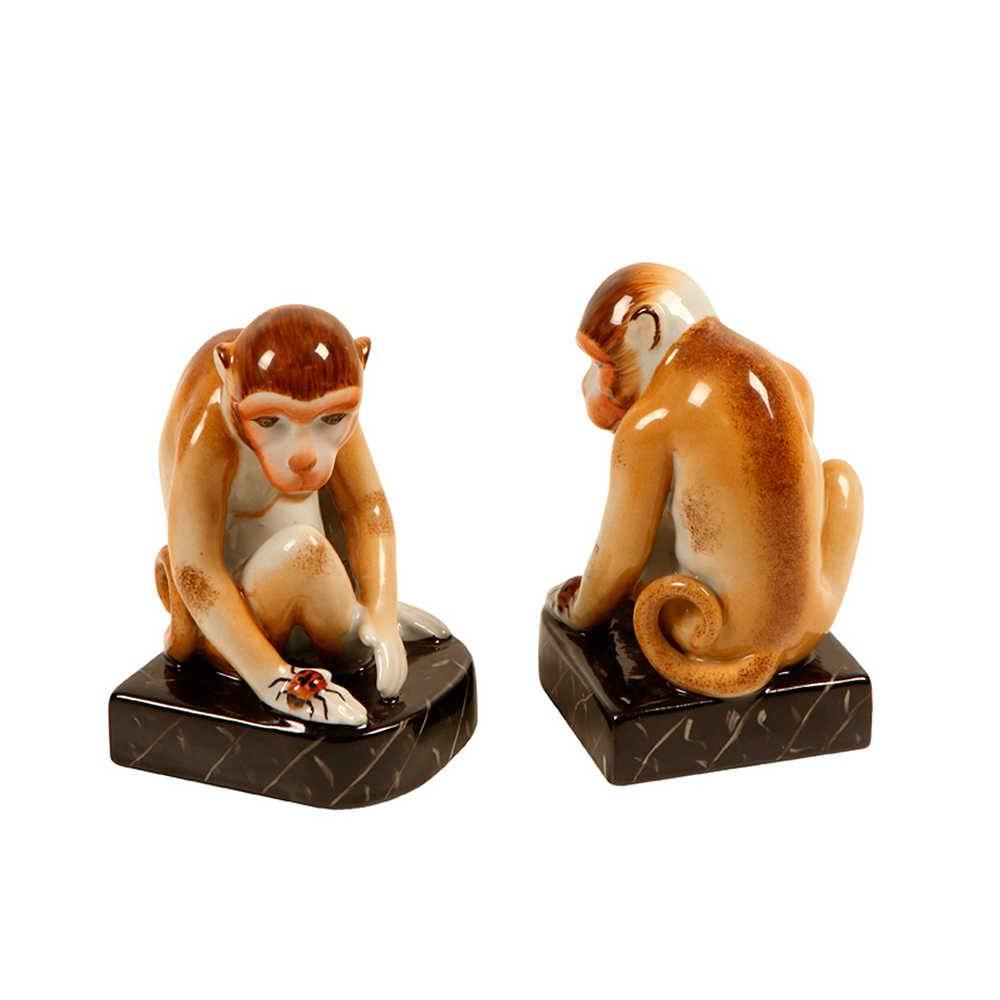 Aparador de Livros Macacos em Porcelana - 18x17 cm