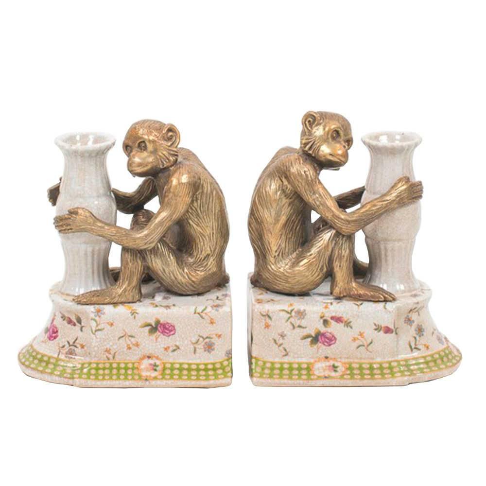 Aparador de Livros Petite Rose Chimpanzé em Porcelana - 20x16 cm