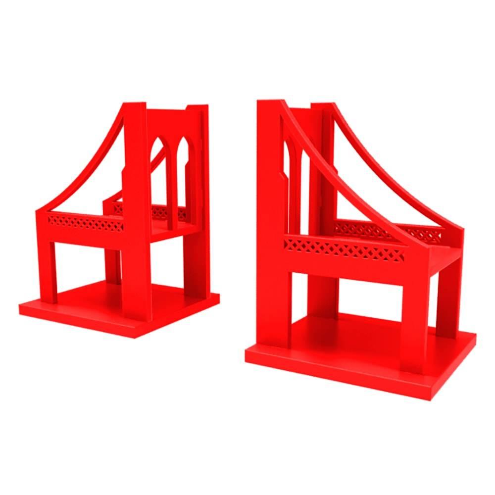 Aparador de Livros Ponte em MDF Laqueado Vermelho - 24x18 cm