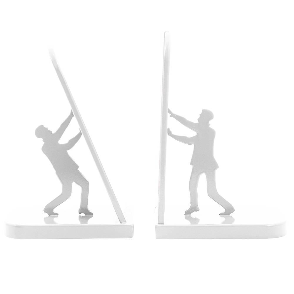 Aparador de Livros Segura para não Cair em MDF Laqueado Branco - 21x14 cm
