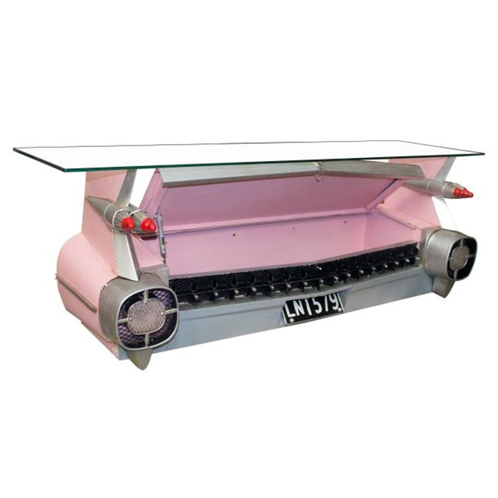 Aparador Réplica Traseira de Carro Rosa Oldway em Metal - 143x48 cm