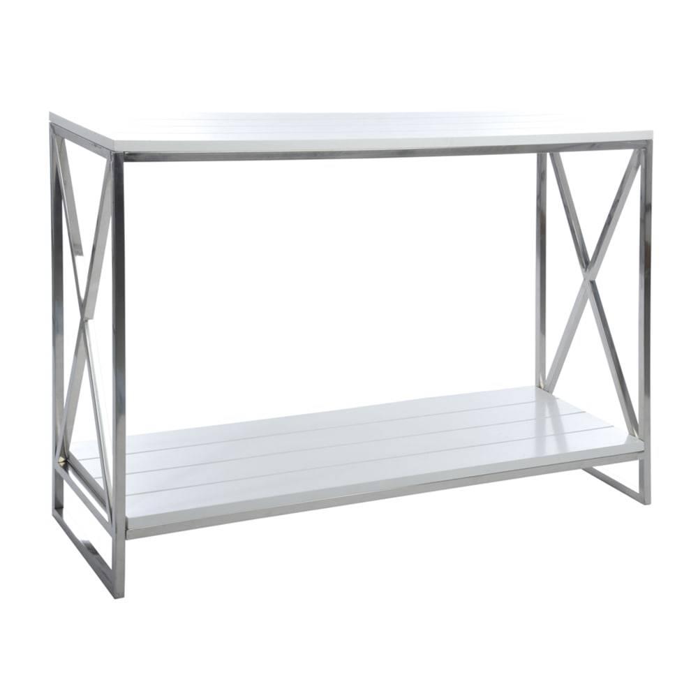 Aparador Safari Prata/Branco em Alumínio - 121x82 cm