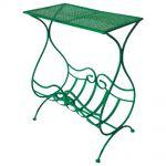 Aparador Verde com Revisteiro Design Curvilíneo Vazado