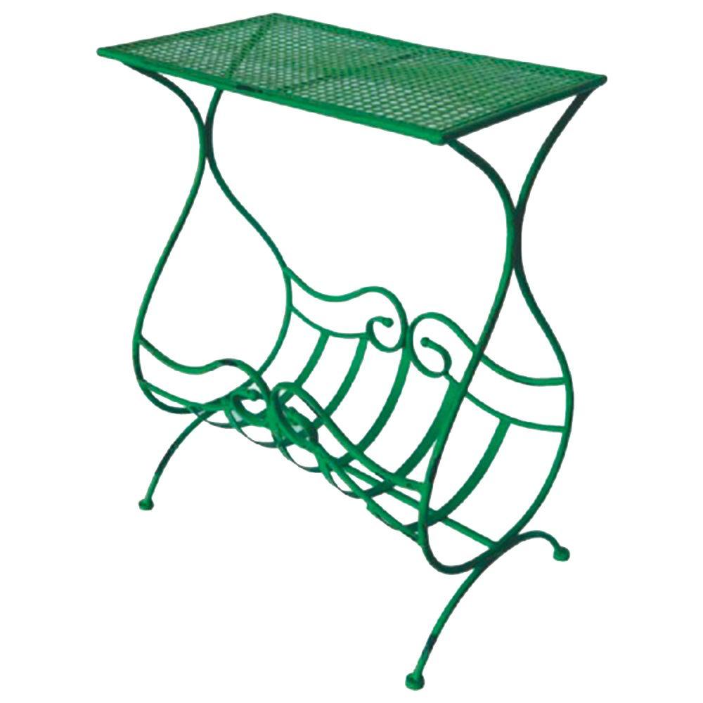 Aparador Verde com Revisteiro Design Curvilíneo Vazado em Ferro - 81x48 cm