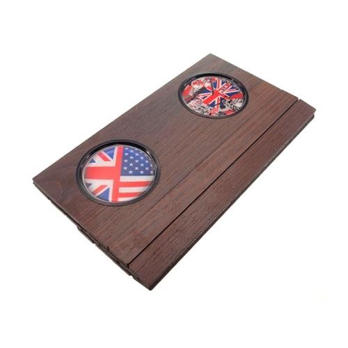 Apoio/Bandeja para Sofá Marrom Bandeira UK em Madeira - 44x31 cm