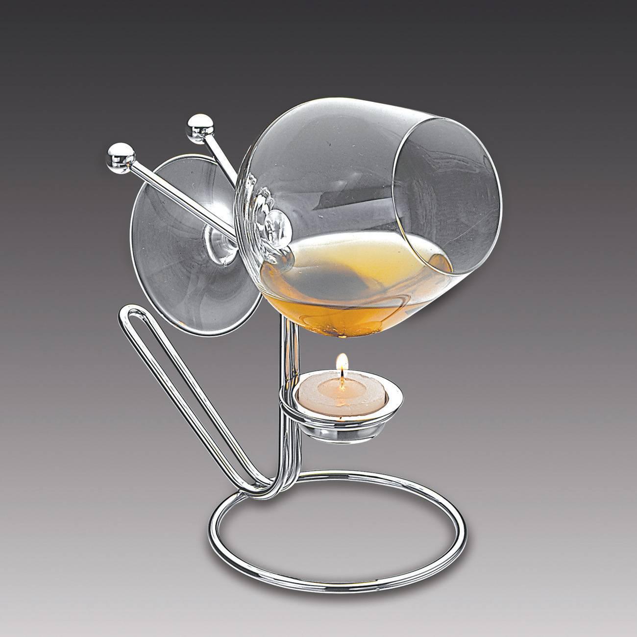 Aquecedor para Conhaque Balls - com Taça em Cristal - em Prata - Wolff - 14 cm
