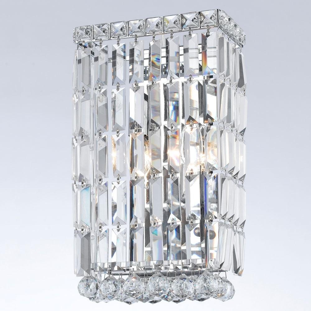 Arandela Bella Translúcido - Bivolt - Metal e Cristais - 38x22 cm
