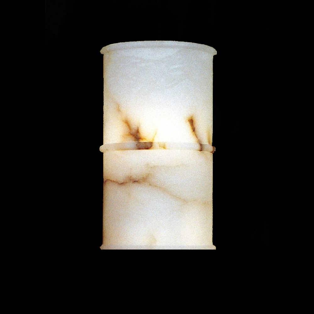 Arandela Benevô Branca - Bivolt - em Pedra Alabastro - 36x21 cm