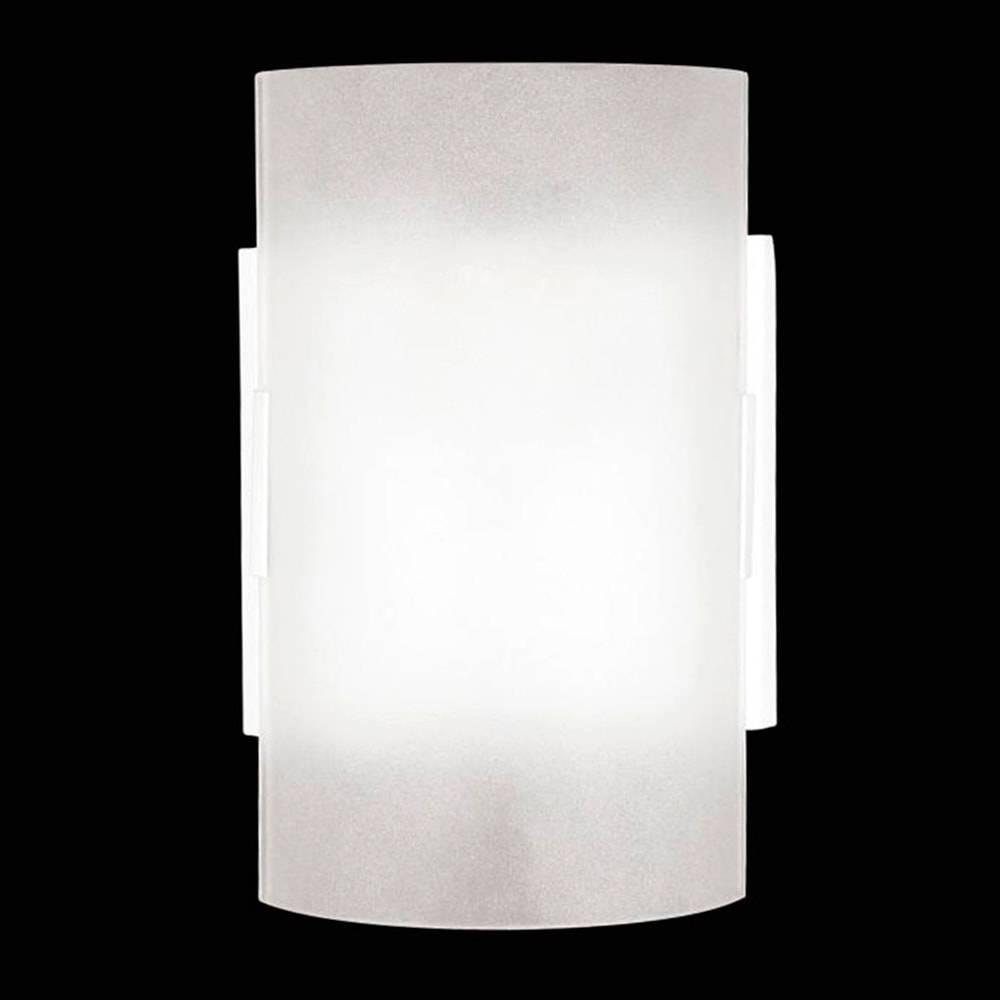 Arandela Calha Branca em Vidro Temperado Fosco - 18x12 cm