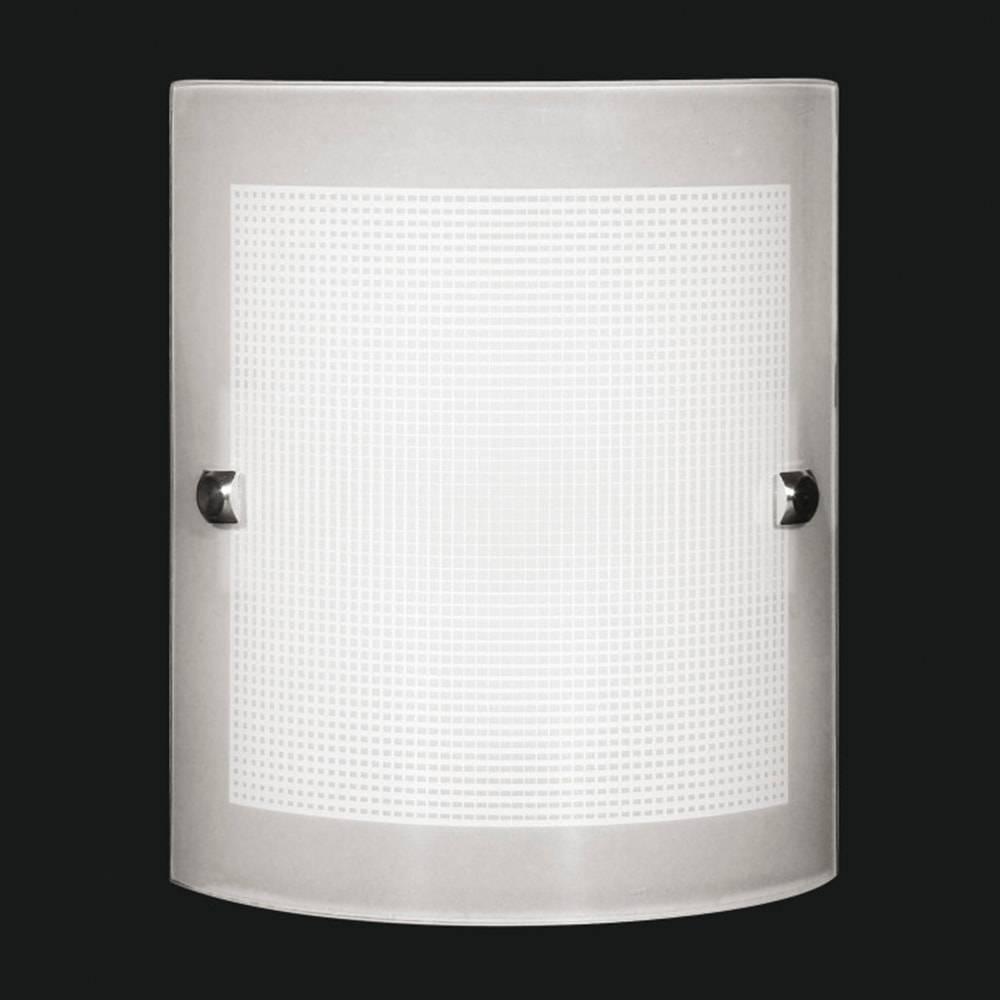 Arandela Calha Quadriculada Branca em Vidro Temperado - 25x18 cm
