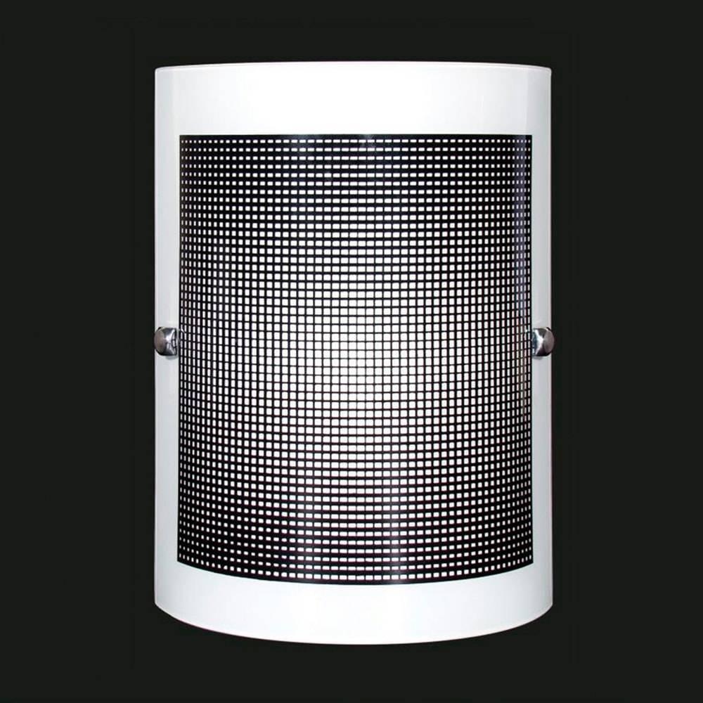 Arandela Calha Quadriculada Pequena Preta em Vidro Temperado - 20x16 cm