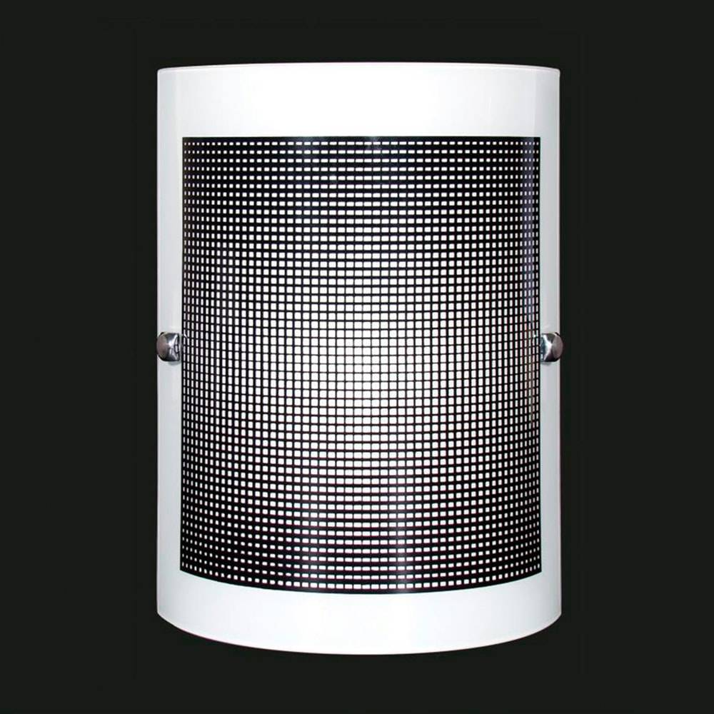 Arandela Calha Quadriculada Preta em Vidro Temperado - 25x18 cm