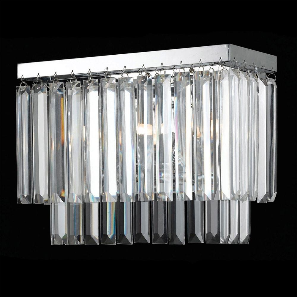Arandela Oblong Transparente - Bivolt - em Metal e Cristais - 31x17 cm