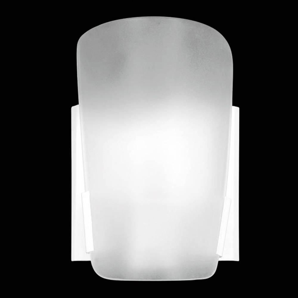 Arandela Paulistinha Branca em Vidro Temperado Fosco - 18x12 cm