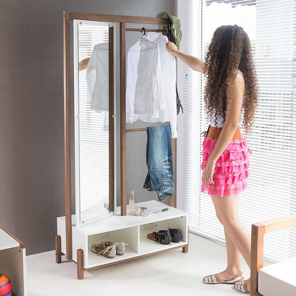 Arara Ammy com Toucador e Espelho Giratório em MDF Branco / Nogueira - 173x90 cm