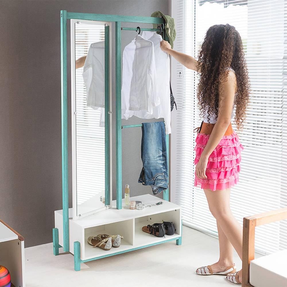 Arara Ammy com Toucador e Espelho Giratório em MDF Branco / Turquesa - 173x90 cm